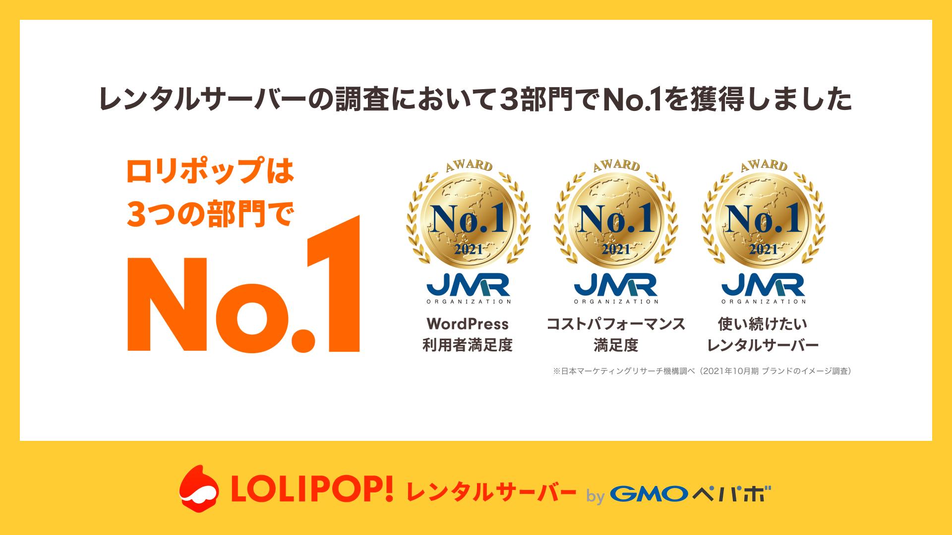 ロリポップが「WordPress 利用者満足度」など3つの部門でNo.1を獲得しました