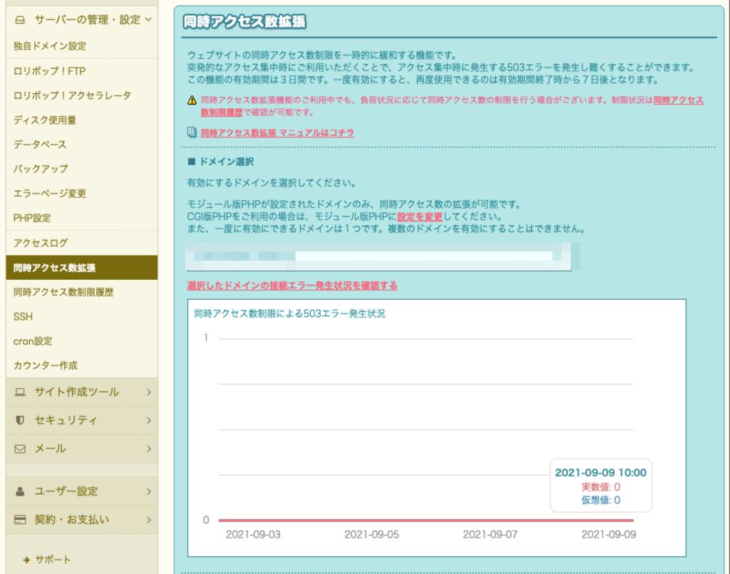 ロリポップ同時アクセス数拡張機能
